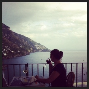 Having a drink with a view in Positano