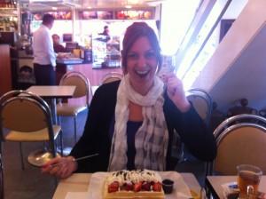 Chantal eating Belgian Waffles, Brussels Belgium