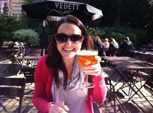 Sarah having a beer, Brussels Belgium