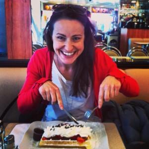 Sarah eating a Belgian Waffle, Brussels Belgium